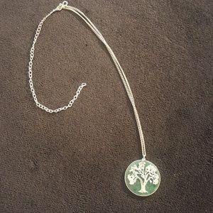 Jade color necklace with silver tree